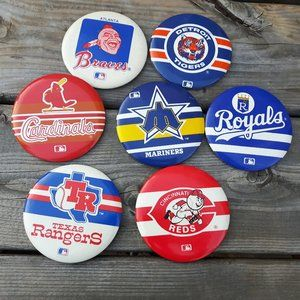 Vintage MLB Button Lot Pin Back Buttons Lot of 7